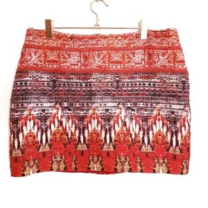 H&M Red Knit Tapestry Mini Skirt Size 8